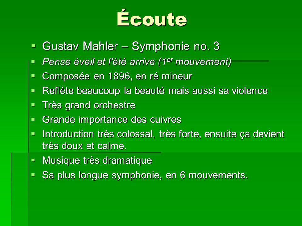 Écoute Gustav Mahler – Symphonie no. 3 Gustav Mahler – Symphonie no.