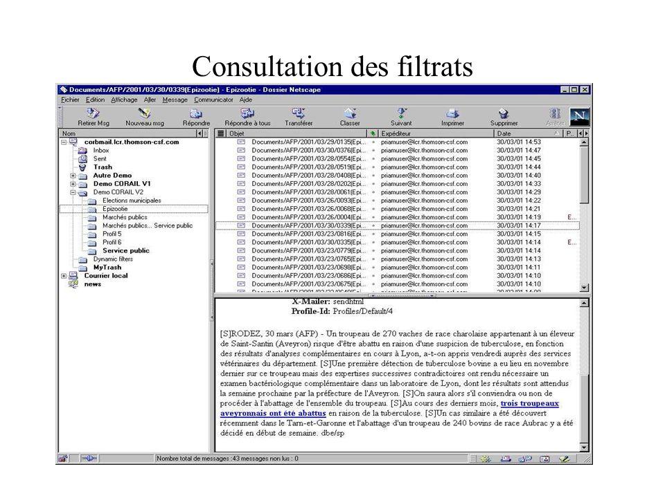 Consultation des filtrats
