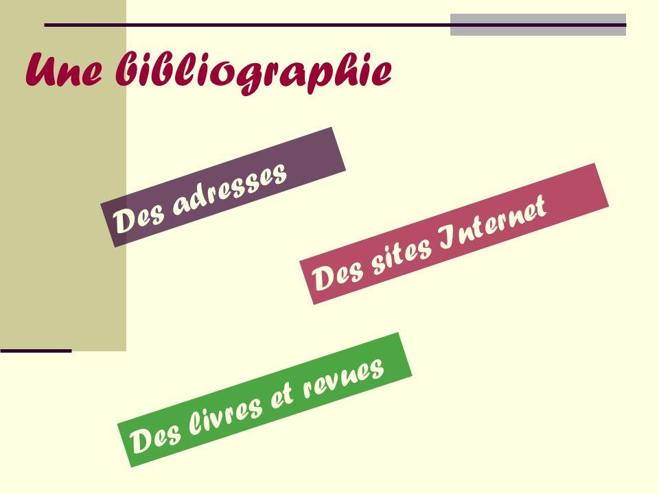 Une bibliographie Des adresses Des sites Internet Des livres et revues