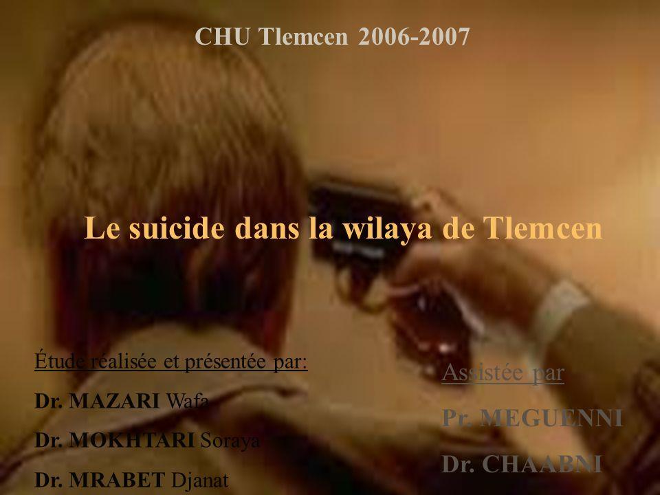 Le suicide dans la wilaya de Tlemcen CHU Tlemcen 2006-2007 Étude réalisée et présentée par: Dr.