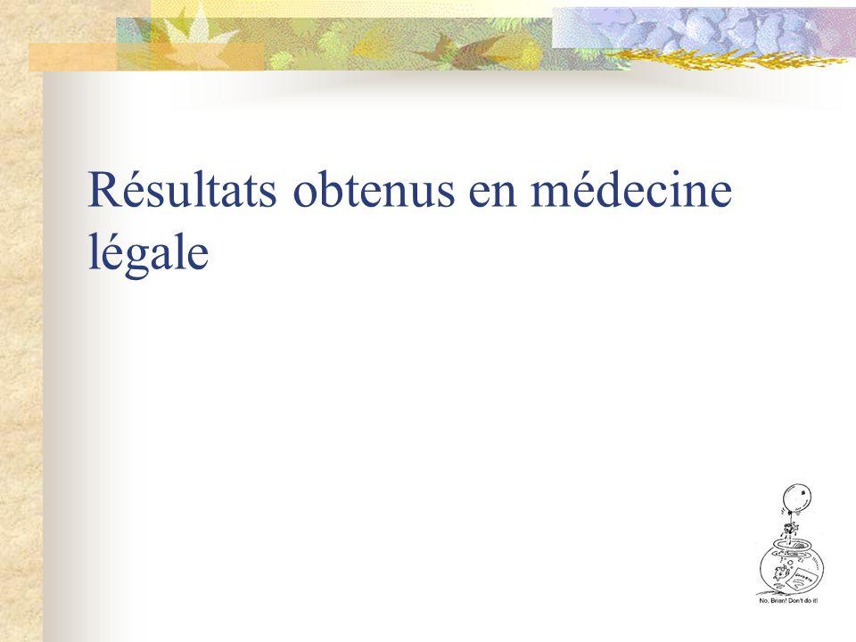 Résultats obtenus en médecine légale