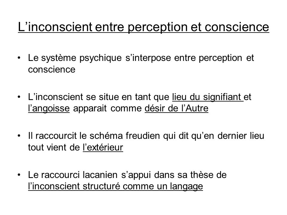 Linconscient entre perception et conscience Le système psychique sinterpose entre perception et conscience Linconscient se situe en tant que lieu du signifiant et langoisse apparait comme désir de lAutre Il raccourcit le schéma freudien qui dit quen dernier lieu tout vient de lextérieur Le raccourci lacanien sappui dans sa thèse de linconscient structuré comme un langage
