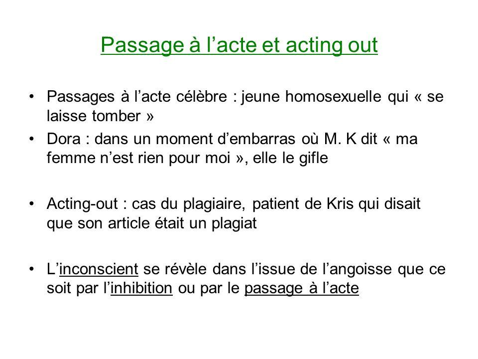 Passage à lacte et acting out Passages à lacte célèbre : jeune homosexuelle qui « se laisse tomber » Dora : dans un moment dembarras où M.