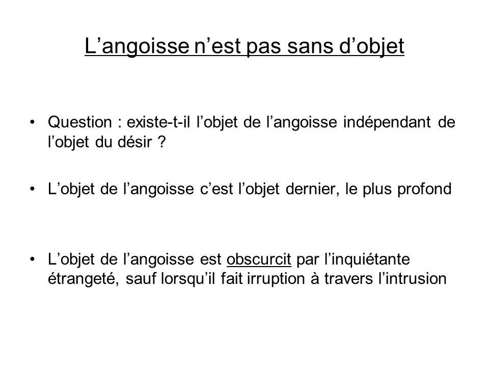 Langoisse nest pas sans dobjet Question : existe-t-il lobjet de langoisse indépendant de lobjet du désir .
