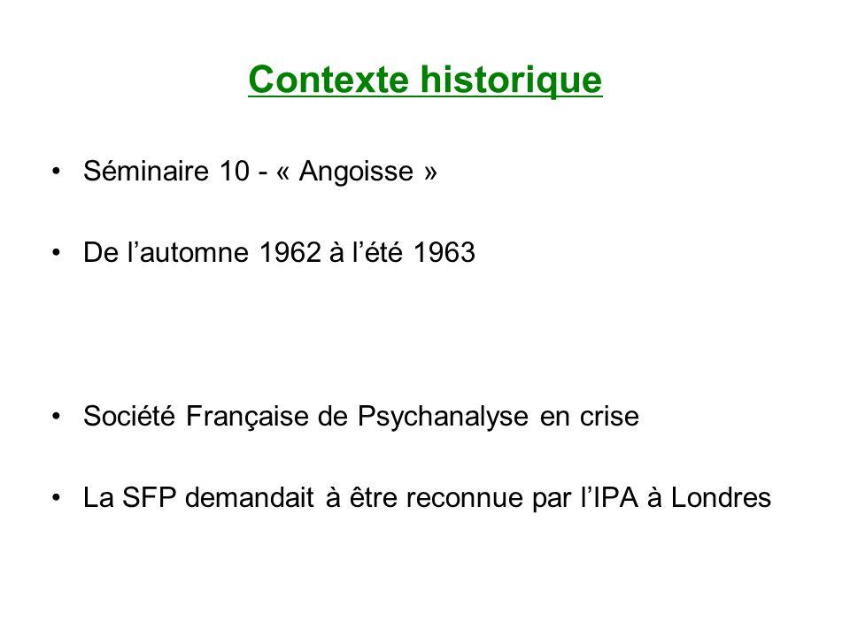 Contexte historique Séminaire 10 - « Angoisse » De lautomne 1962 à lété 1963 Société Française de Psychanalyse en crise La SFP demandait à être reconnue par lIPA à Londres