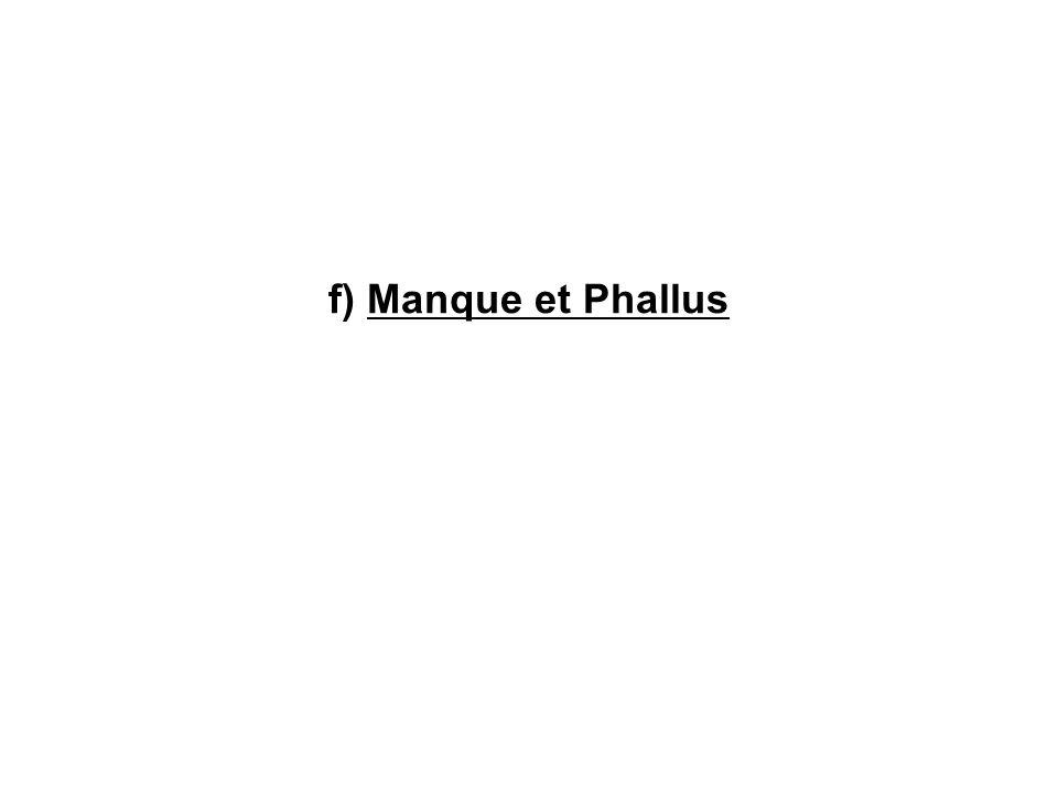 f) Manque et Phallus