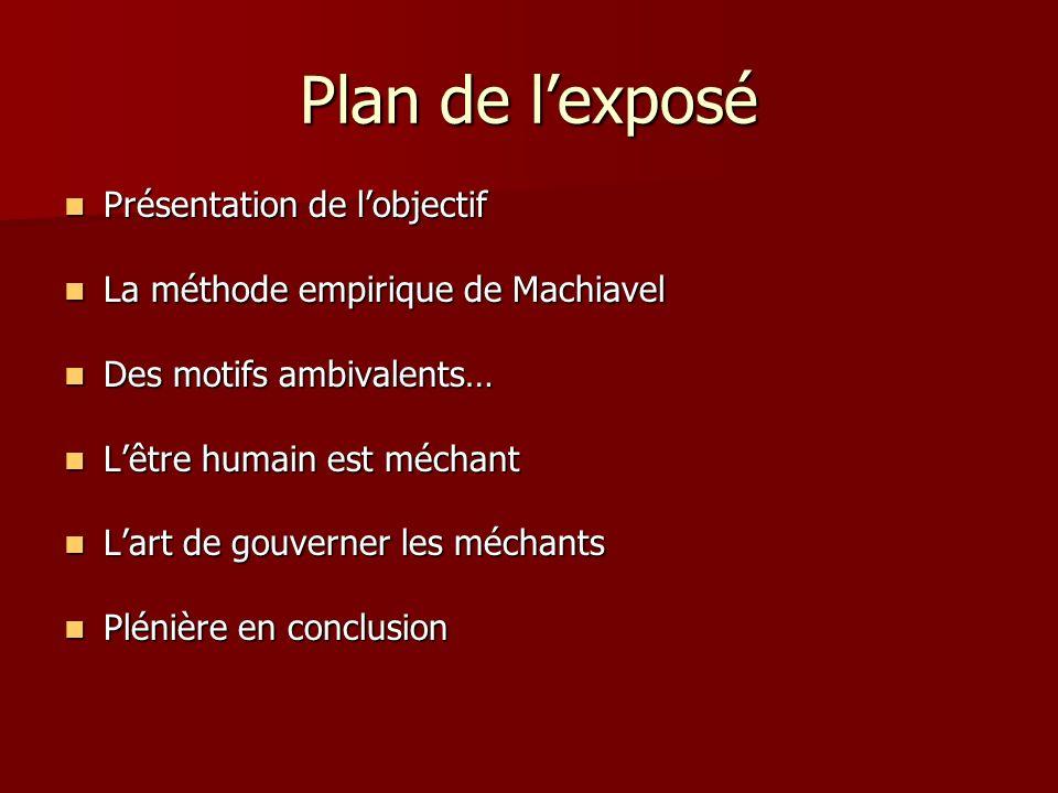 Plan de lexposé Présentation de lobjectif Présentation de lobjectif La méthode empirique de Machiavel La méthode empirique de Machiavel Des motifs amb