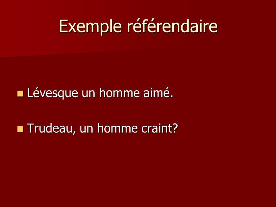 Exemple référendaire Lévesque un homme aimé. Lévesque un homme aimé. Trudeau, un homme craint? Trudeau, un homme craint?