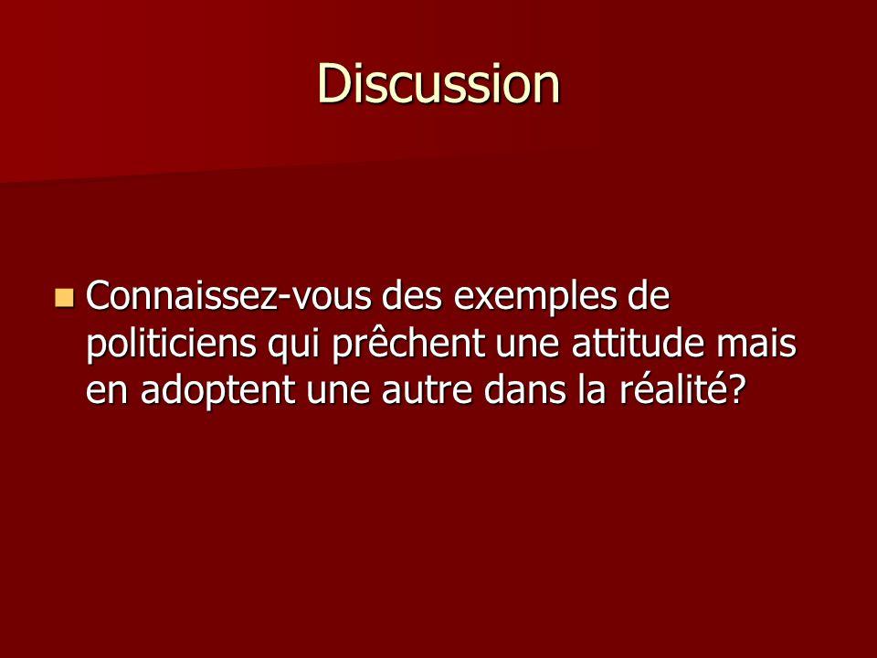 Discussion Connaissez-vous des exemples de politiciens qui prêchent une attitude mais en adoptent une autre dans la réalité.