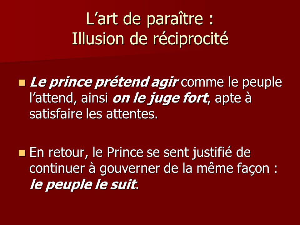 Lart de paraître : Illusion de réciprocité Le prince prétend agir comme le peuple lattend, ainsi on le juge fort, apte à satisfaire les attentes.