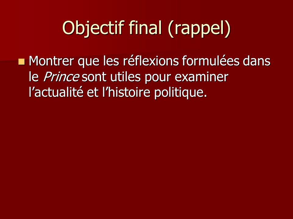 Objectif final (rappel) Montrer que les réflexions formulées dans le Prince sont utiles pour examiner lactualité et lhistoire politique. Montrer que l
