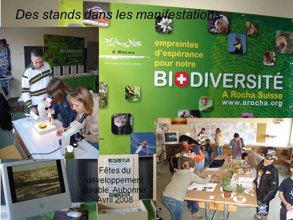 Des stands dans les manifestations Fêtes du développement durable, Aubonne, Avril 2008