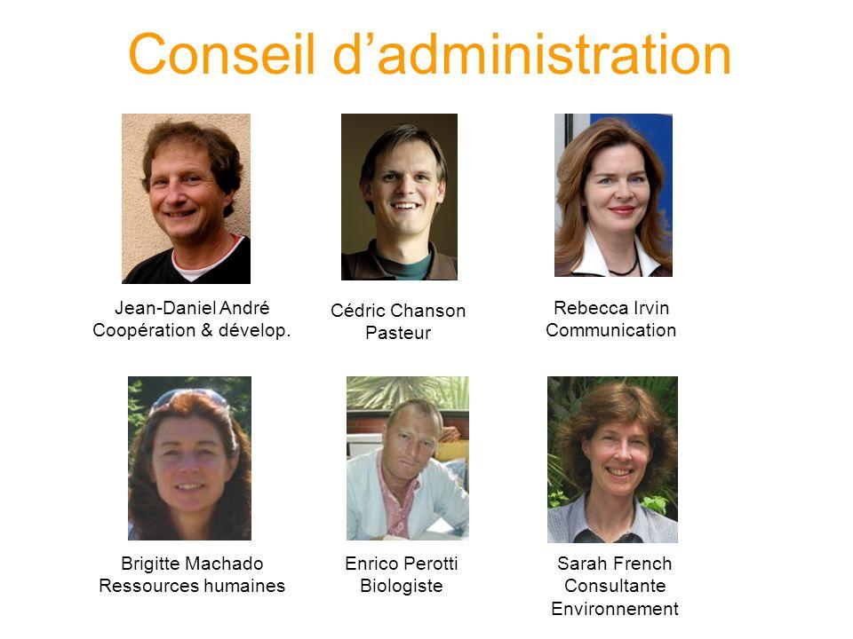 Conseil dadministration Cédric Chanson Pasteur Rebecca Irvin Communication Jean-Daniel André Coopération & dévelop.