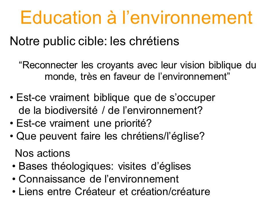Education à lenvironnement Notre public cible: les chrétiens Reconnecter les croyants avec leur vision biblique du monde, très en faveur de lenvironnement Est-ce vraiment biblique que de soccuper de la biodiversité / de lenvironnement.