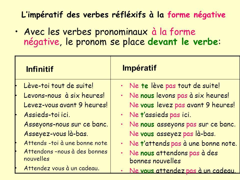 Limpératif des verbes réfléxifs à la forme négative Avec les verbes pronominaux à la forme négative, le pronom se place devant le verbe: Lève-toi tout de suite.