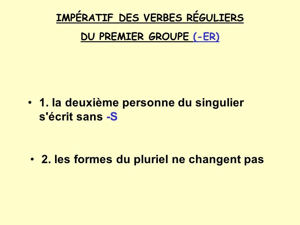 IMPÉRATIF DES VERBES RÉGULIERS DU PREMIER GROUPE (-ER) 1.
