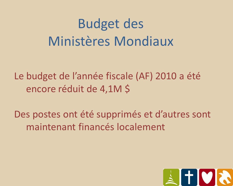 Le budget de lannée fiscale (AF) 2010 a été encore réduit de 4,1M $ Des postes ont été supprimés et dautres sont maintenant financés localement Budget des Ministères Mondiaux