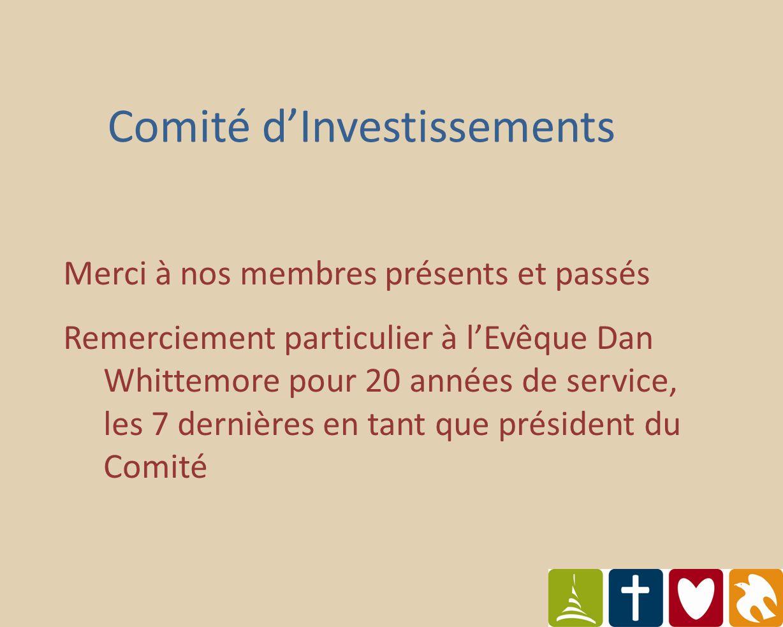 Comité dInvestissements Merci à nos membres présents et passés Remerciement particulier à lEvêque Dan Whittemore pour 20 années de service, les 7 dernières en tant que président du Comité