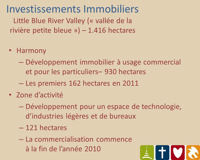 Harmony – Développement immobilier à usage commercial et pour les particuliers– 930 hectares – Les premiers 162 hectares en 2011 Zone dactivité – Développement pour un espace de technologie, dindustries légères et de bureaux – 121 hectares – La commercialisation commence à la fin de lannée 2010