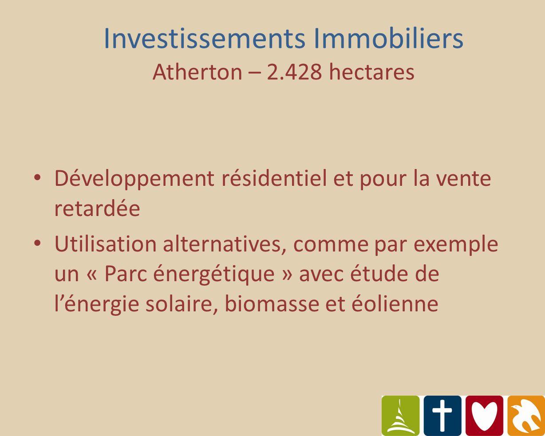 Développement résidentiel et pour la vente retardée Utilisation alternatives, comme par exemple un « Parc énergétique » avec étude de lénergie solaire, biomasse et éolienne