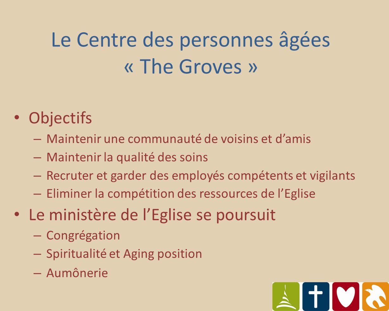 Impact financier – Rembourse lemprunt effectué pour le Centre – Aucun profit financier – Améliore la dette générale de lEglise Le Centre des personnes âgées « The Groves »