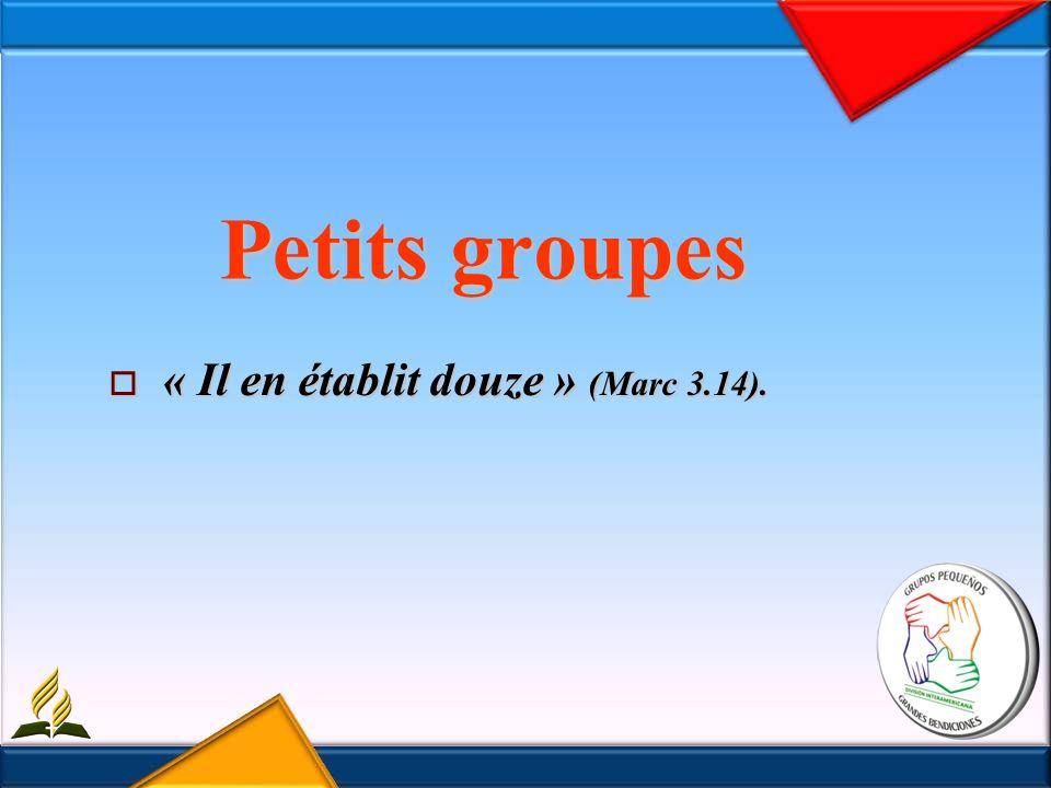 Petits groupes « Il en établit douze » (Marc 3.14). « Il en établit douze » (Marc 3.14).