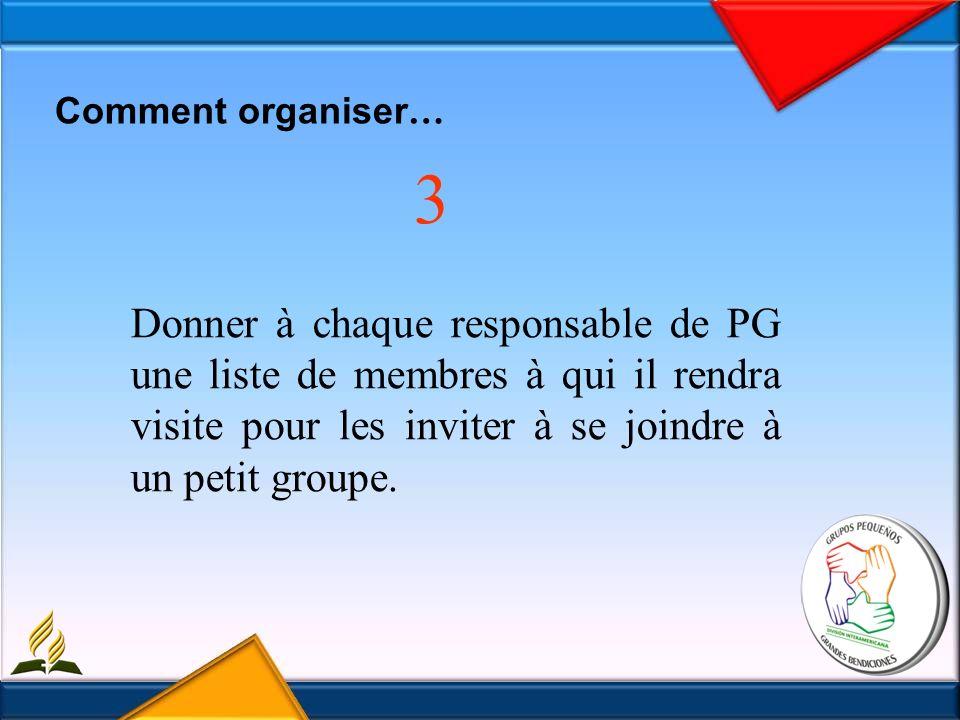 Comment organiser … 3 Donner à chaque responsable de PG une liste de membres à qui il rendra visite pour les inviter à se joindre à un petit groupe.
