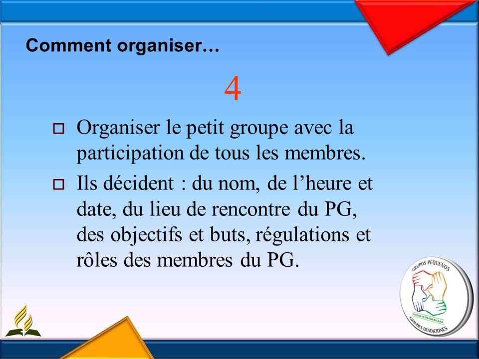 Comment organiser … 4 Organiser le petit groupe avec la participation de tous les membres.