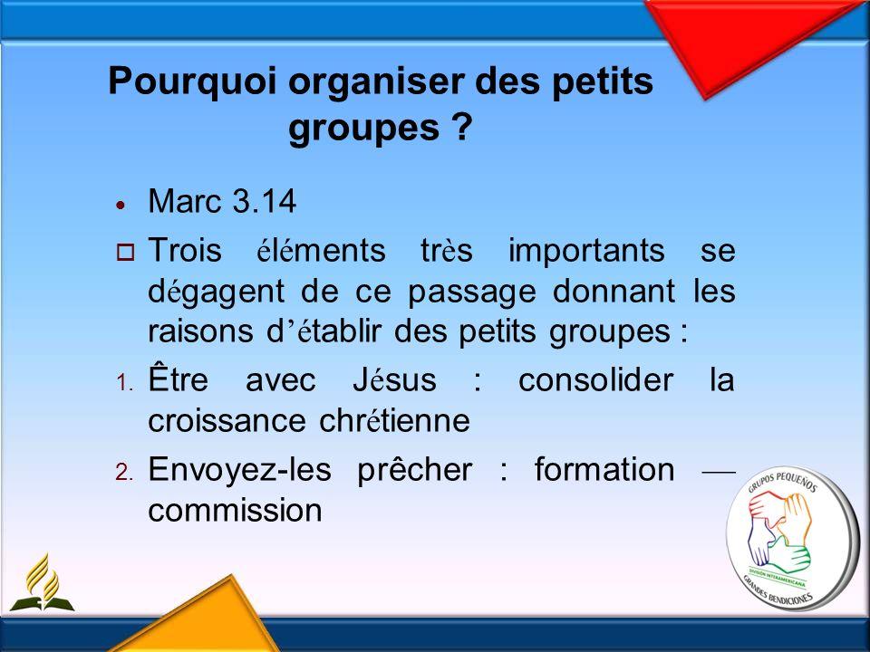 Pourquoi organiser des petits groupes .