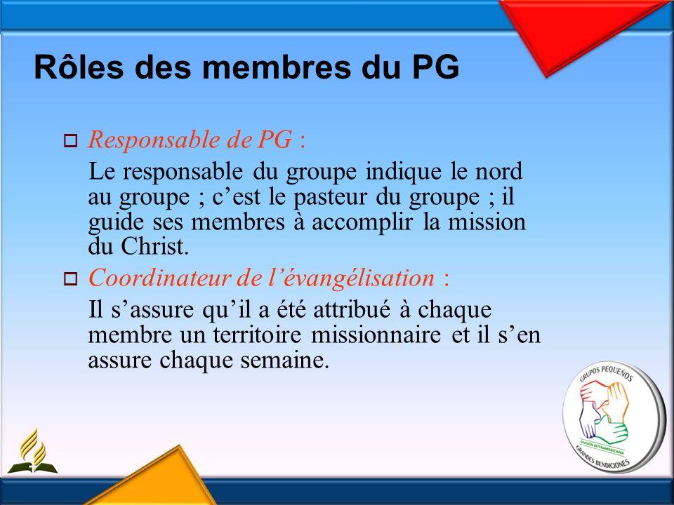 Rôles des membres du PG Responsable de PG : Le responsable du groupe indique le nord au groupe ; cest le pasteur du groupe ; il guide ses membres à accomplir la mission du Christ.