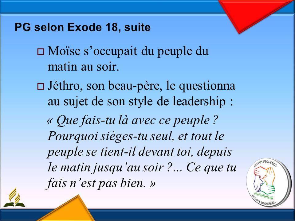PG selon Exode 18, suite Moïse soccupait du peuple du matin au soir.