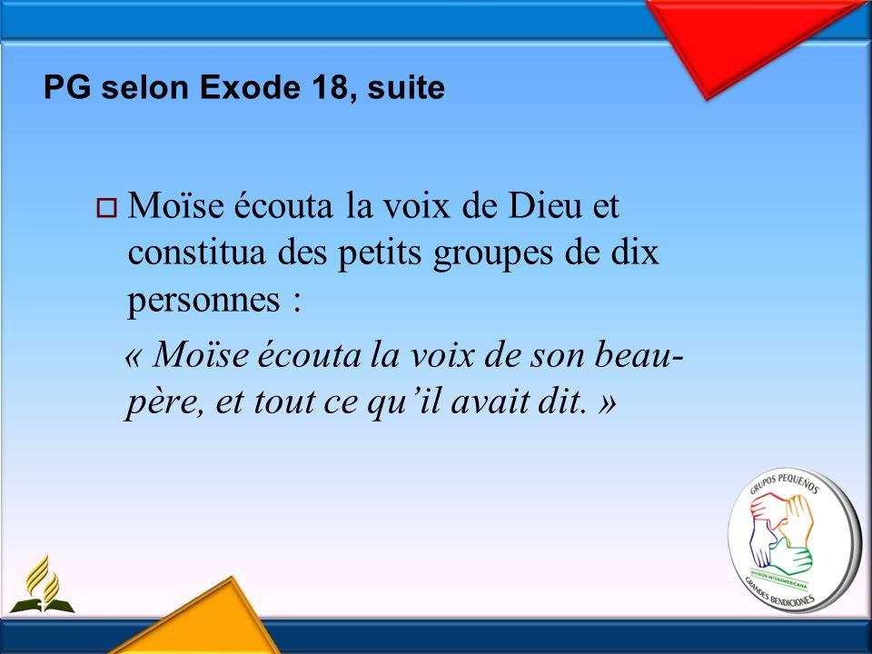 Moïse écouta la voix de Dieu et constitua des petits groupes de dix personnes : « Moïse écouta la voix de son beau- père, et tout ce quil avait dit.
