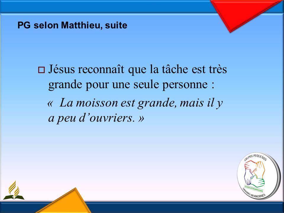 PG selon Matthieu, suite Jésus reconnaît que la tâche est très grande pour une seule personne : « La moisson est grande, mais il y a peu douvriers.