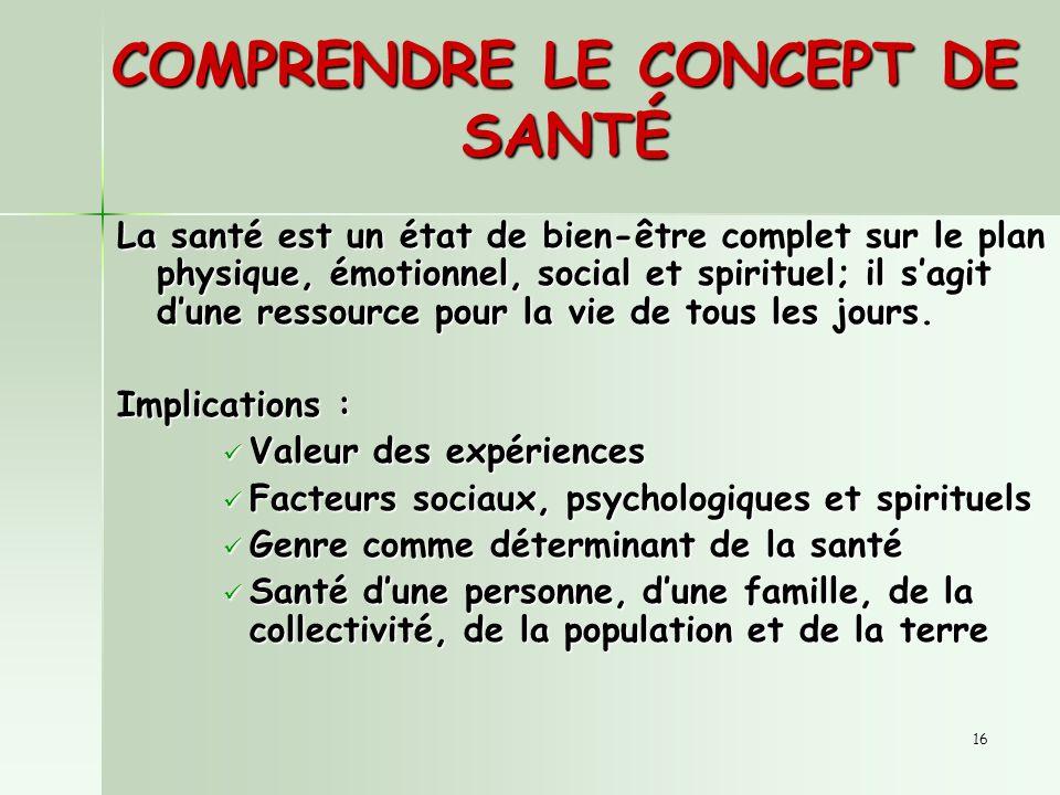 16 COMPRENDRE LE CONCEPT DE SANTÉ La santé est un état de bien-être complet sur le plan physique, émotionnel, social et spirituel; il sagit dune ressource pour la vie de tous les jours.