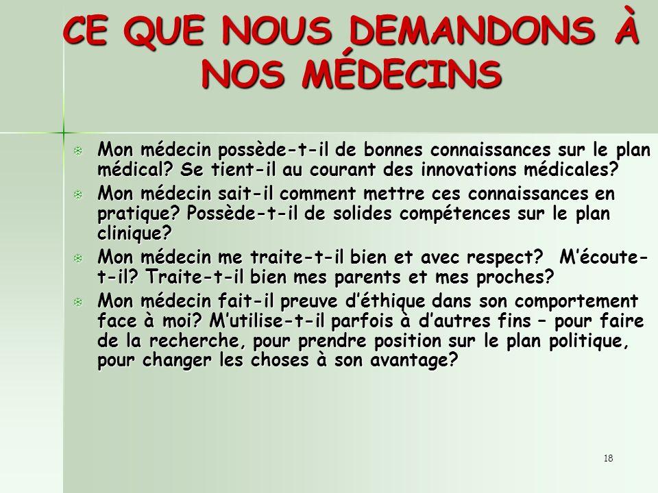 18 CE QUE NOUS DEMANDONS À NOS MÉDECINS T Mon médecin possède-t-il de bonnes connaissances sur le plan médical.