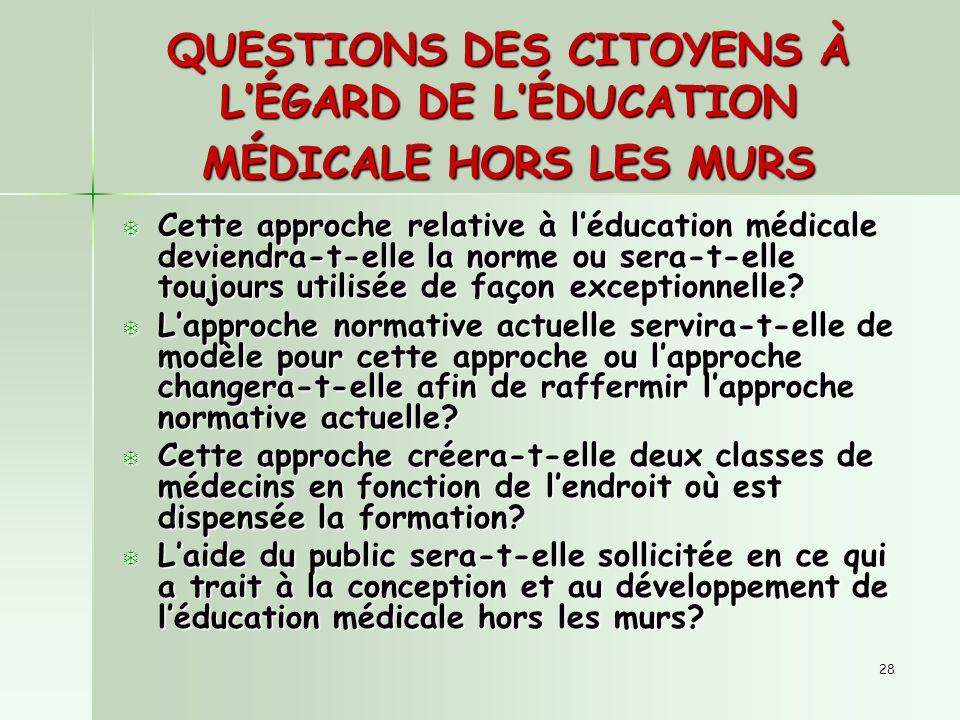 28 QUESTIONS DES CITOYENS À LÉGARD DE LÉDUCATION MÉDICALE HORS LES MURS T Cette approche relative à léducation médicale deviendra-t-elle la norme ou sera-t-elle toujours utilisée de façon exceptionnelle.