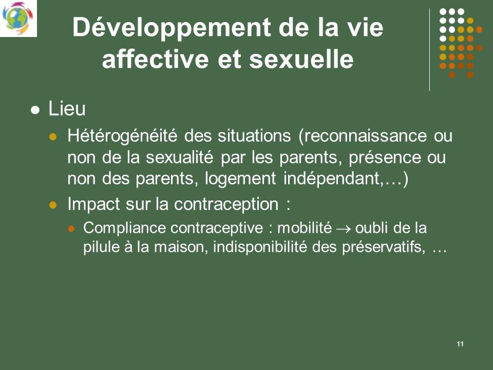 11 Développement de la vie affective et sexuelle Lieu Hétérogénéité des situations (reconnaissance ou non de la sexualité par les parents, présence ou