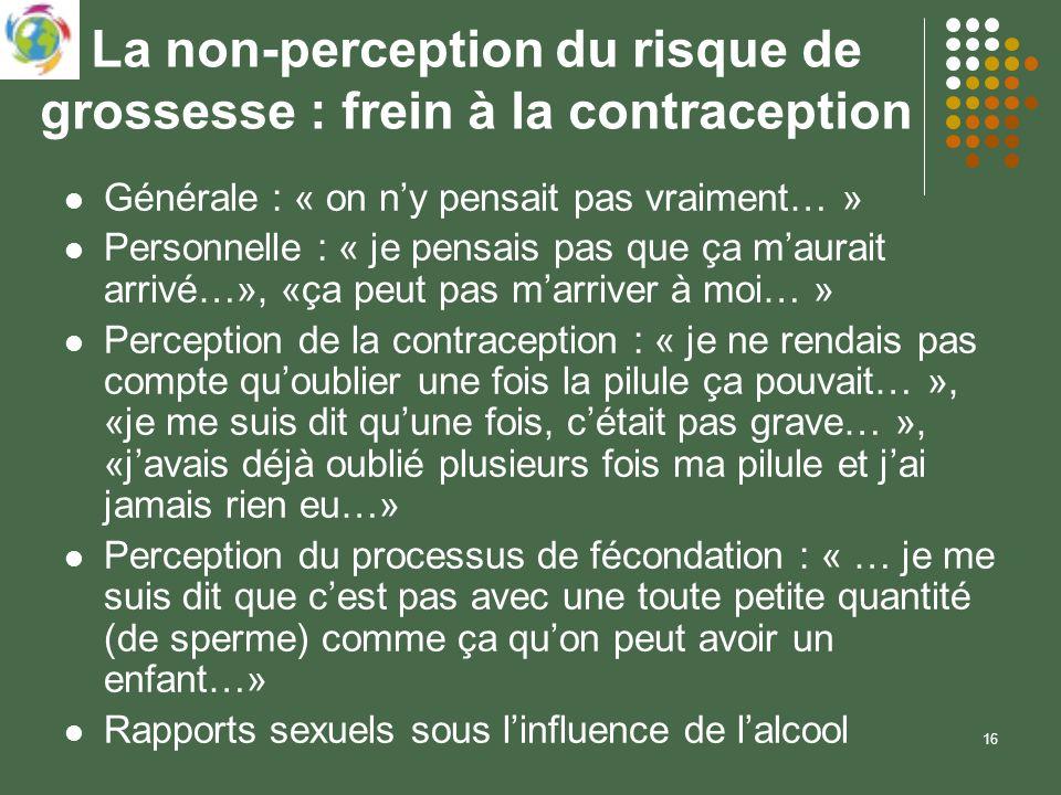 16 La non-perception du risque de grossesse : frein à la contraception Générale : « on ny pensait pas vraiment… » Personnelle : « je pensais pas que ç