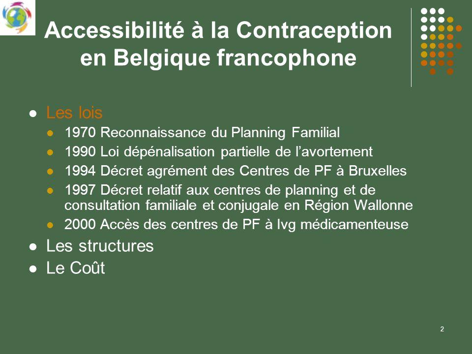 2 Accessibilité à la Contraception en Belgique francophone Les lois 1970 Reconnaissance du Planning Familial 1990 Loi dépénalisation partielle de lavo