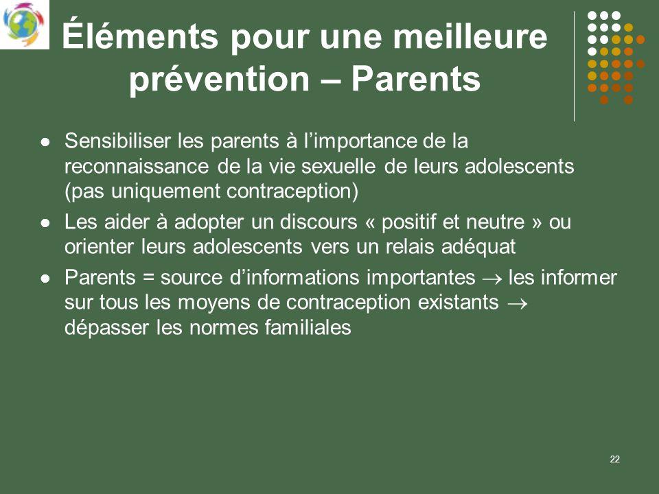 22 Éléments pour une meilleure prévention – Parents Sensibiliser les parents à limportance de la reconnaissance de la vie sexuelle de leurs adolescent