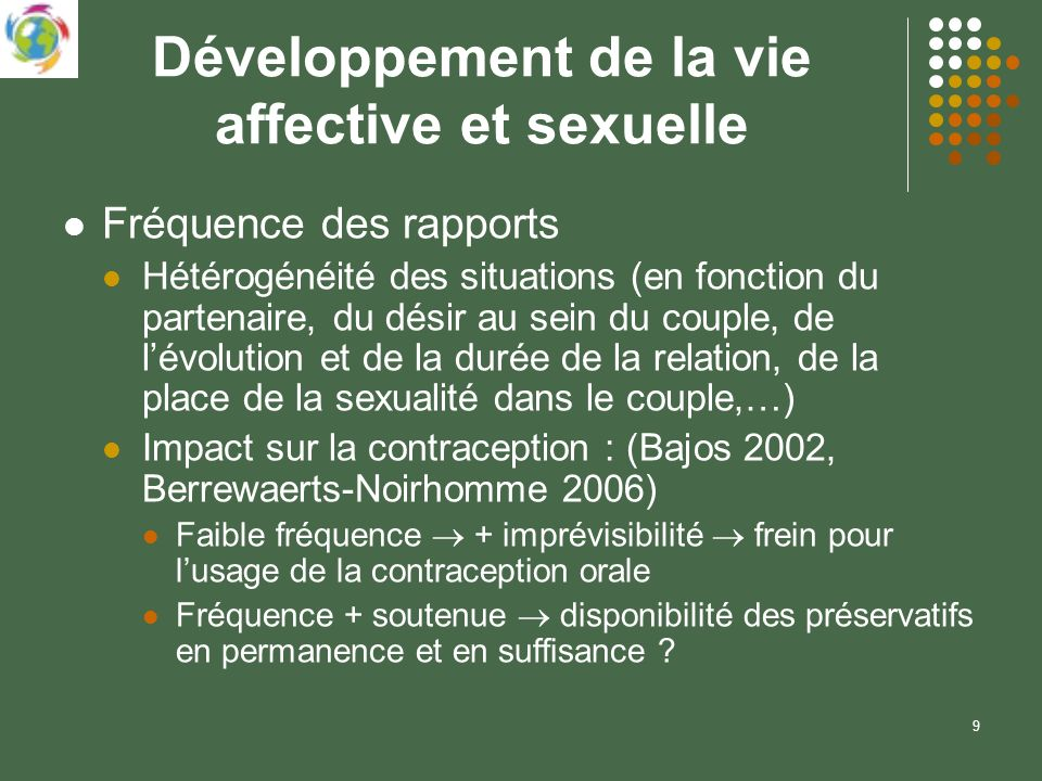 9 Développement de la vie affective et sexuelle Fréquence des rapports Hétérogénéité des situations (en fonction du partenaire, du désir au sein du couple, de lévolution et de la durée de la relation, de la place de la sexualité dans le couple,…) Impact sur la contraception : (Bajos 2002, Berrewaerts-Noirhomme 2006) Faible fréquence + imprévisibilité frein pour lusage de la contraception orale Fréquence + soutenue disponibilité des préservatifs en permanence et en suffisance