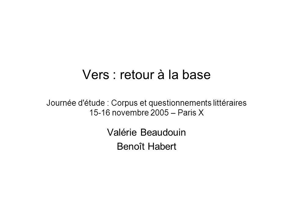 Vers : retour à la base Journée d étude : Corpus et questionnements littéraires 15-16 novembre 2005 – Paris X Valérie Beaudouin Benoît Habert