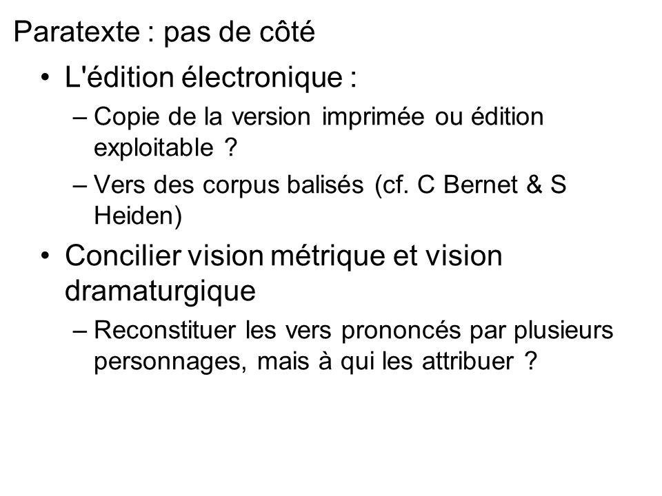 Paratexte : pas de côté L'édition électronique : –Copie de la version imprimée ou édition exploitable ? –Vers des corpus balisés (cf. C Bernet & S Hei