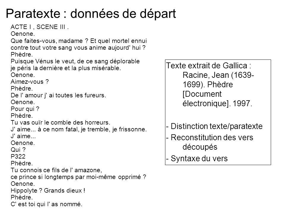 Paratexte : données de départ ACTE I, SCENE III. Oenone. Que faites-vous, madame ? Et quel mortel ennui contre tout votre sang vous anime aujourd' hui
