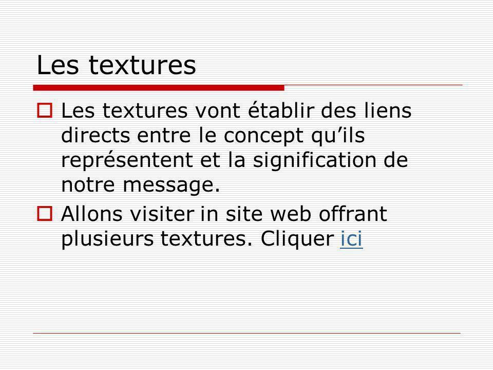 Les textures Les textures vont établir des liens directs entre le concept quils représentent et la signification de notre message.