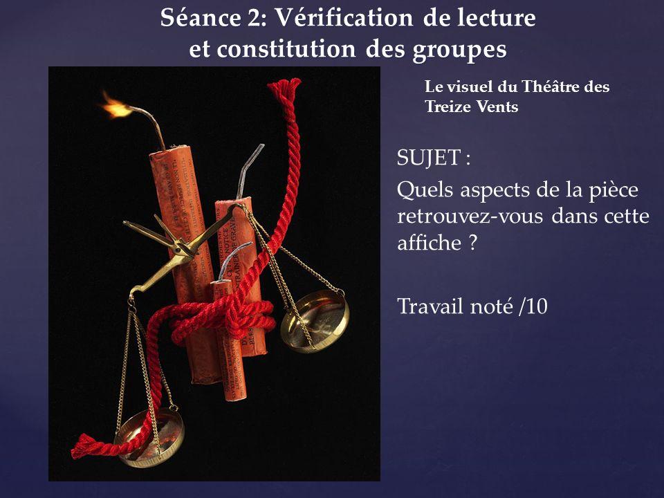 Séance 2: Vérification de lecture et constitution des groupes Le visuel du Théâtre des Treize Vents SUJET : Quels aspects de la pièce retrouvez-vous d