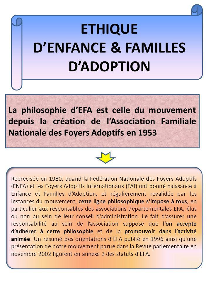 Reprécisée en 1980, quand la Fédération Nationale des Foyers Adoptifs (FNFA) et les Foyers Adoptifs Internationaux (FAI) ont donné naissance à Enfance et Familles dAdoption, et régulièrement revalidée par les instances du mouvement, cette ligne philosophique simpose à tous, en particulier aux responsables des associations départementales EFA, élus ou non au sein de leur conseil dadministration.