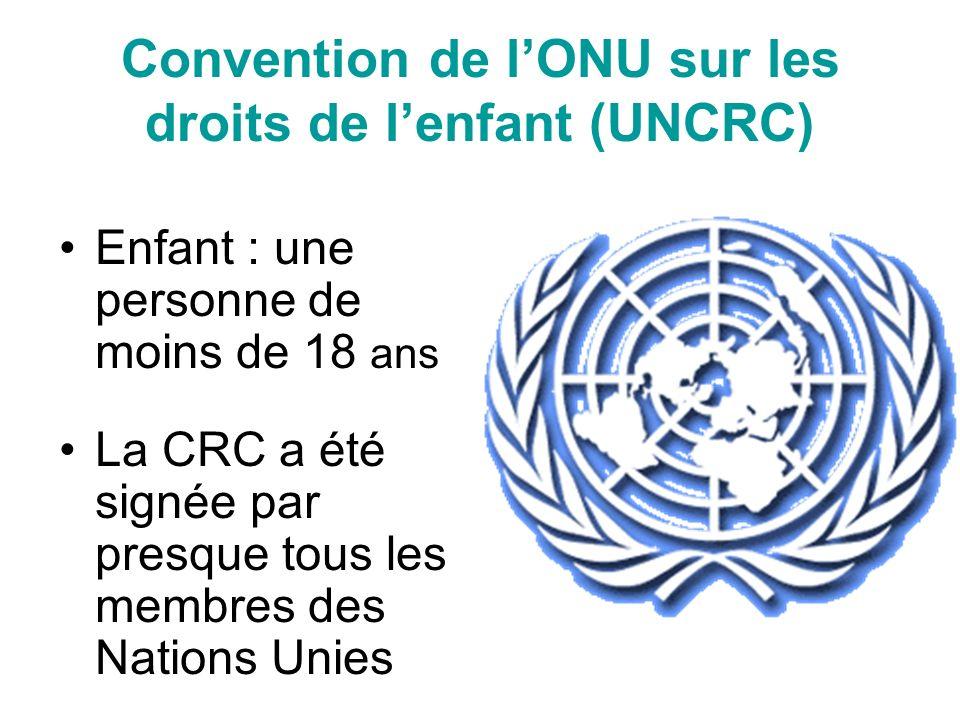 Convention de lONU sur les droits de lenfant (UNCRC) Enfant : une personne de moins de 18 ans La CRC a été signée par presque tous les membres des Nations Unies