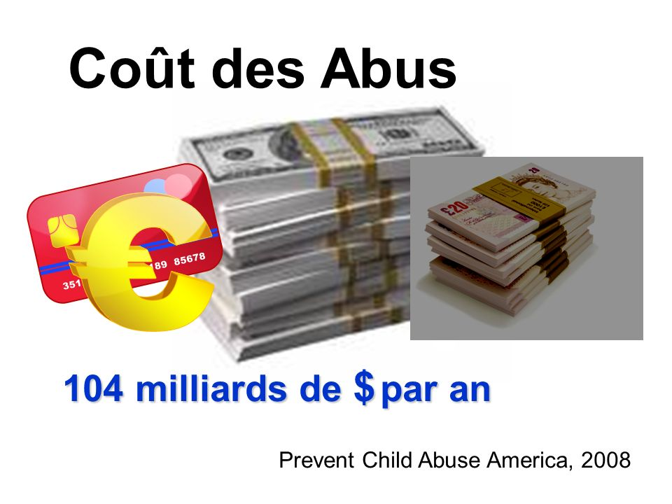 104 milliards de $ par an Prevent Child Abuse America, 2008 Coût des Abus
