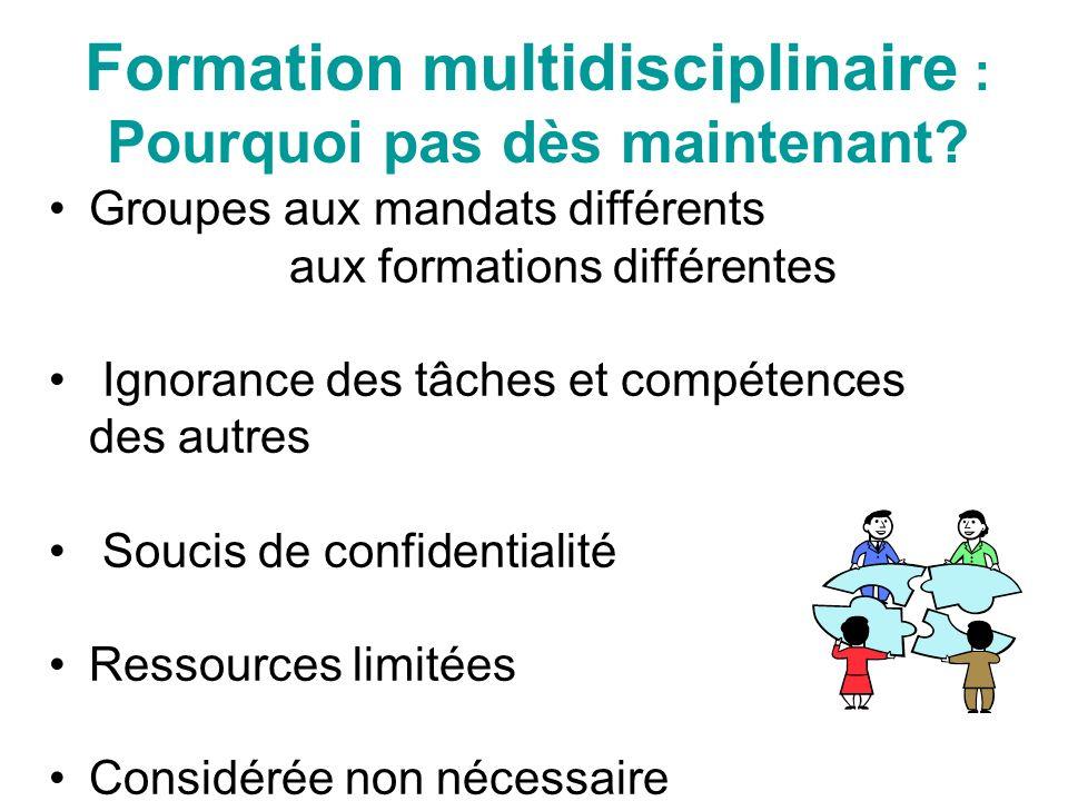 Formation multidisciplinaire : Pourquoi pas dès maintenant.